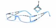 HIP Leesbril gestreept dubbel aqua/zwart +2.5